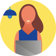 Woman working-on a laptop icon