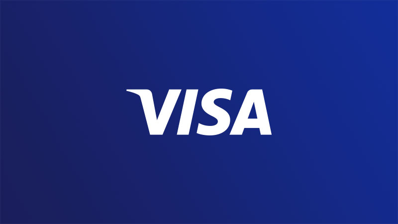 Blue gradient background with white Visa logo in center.