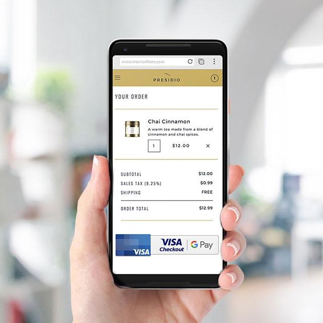 visa checkout with google pay on phone - Visa Credit Card App