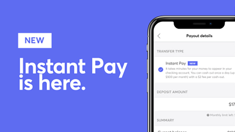 Instant Pay app screen next to sentence saying Instant Pay is here.