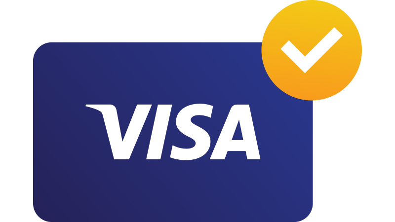 Illustration: Visa card with checkmark.