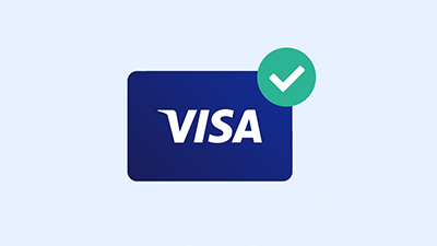 An illustration of a Visa symbol combined with a check mark.